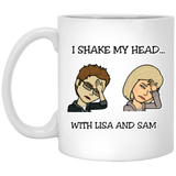 I Shake My Head White Mug