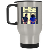 Bullpen Therapy Podcast Silver Stainless Travel Mug