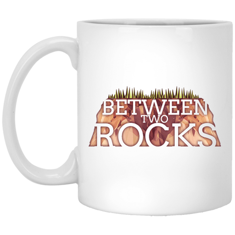 Between Two Rocks White Mug