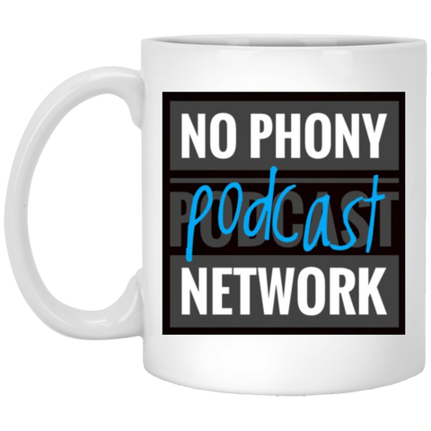 No Phony Podcast Network White Mug