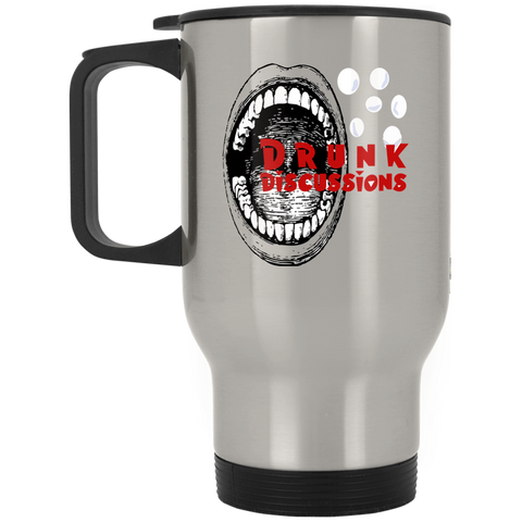 The Drunk Discussions Podcast Silver Stainless Travel Mug