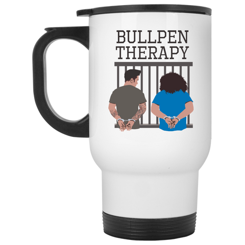 Bullpen Therapy Podcast White Travel Mug