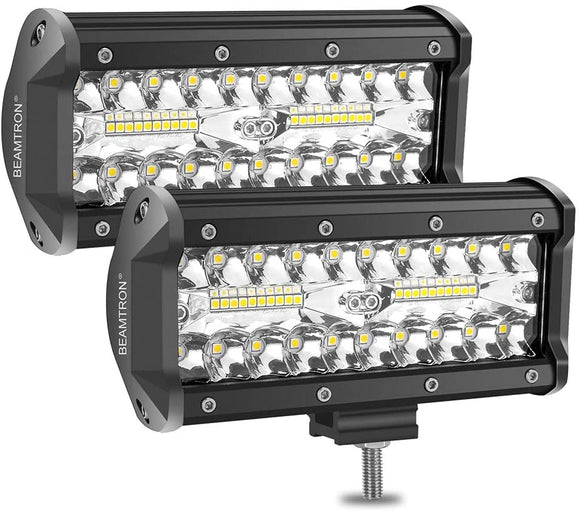 Pair 7 inch Work Lights Spot Flood LED Light Bar Reverse 4WD 12V 24V Spread