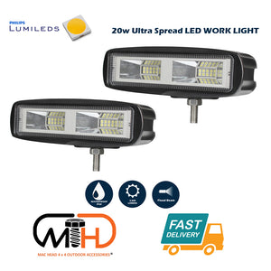 Pair 6inch 20w LED Work Driving Light Bar Ultra Flood Beam Lamp Reverse Offroadhttps://macheadgroup.myshopify.com/admin/products