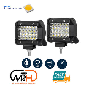 Pair 4 inch Spot LED Work Light Bar Philips Quad Row 4WD 4X4 Car Reverse Driving