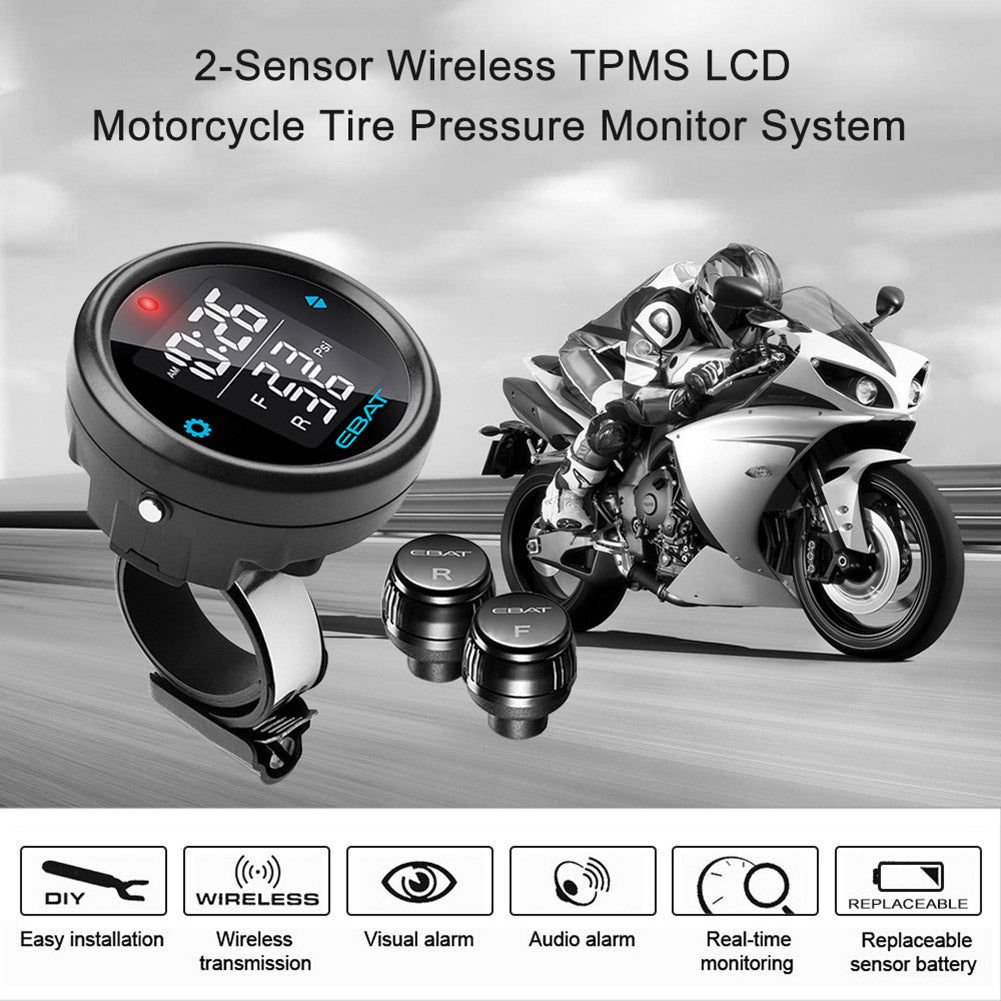 Et 910ae Motorcycle Tpms Tire Pressure Monitor System 2 Sensor Battery Wireless Lcd Display Moto