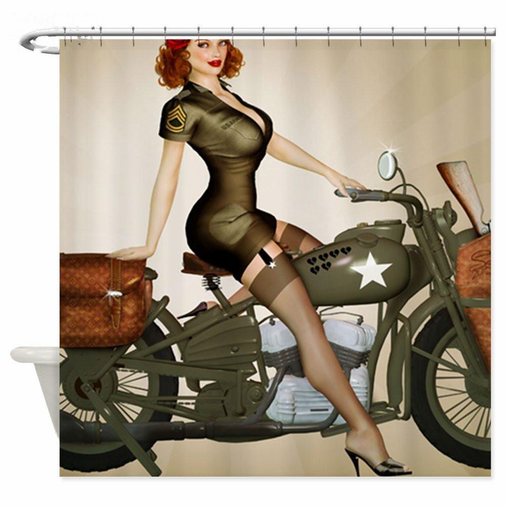Army Pin Up Girl Fabric Shower Curtain