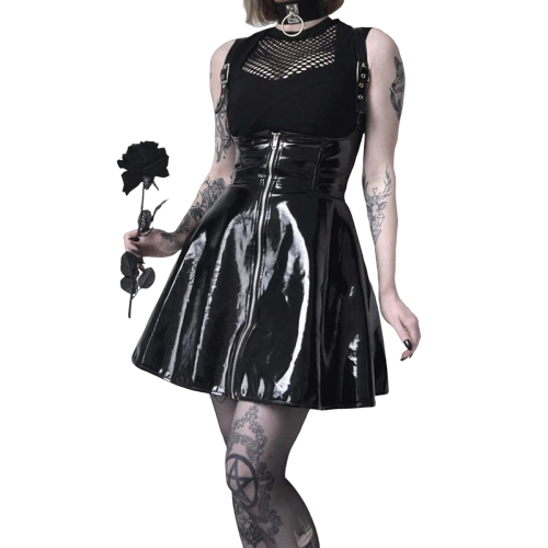 Gothic Leather Zipper Pleated Slim Skirts (Black) - WOMENEXY