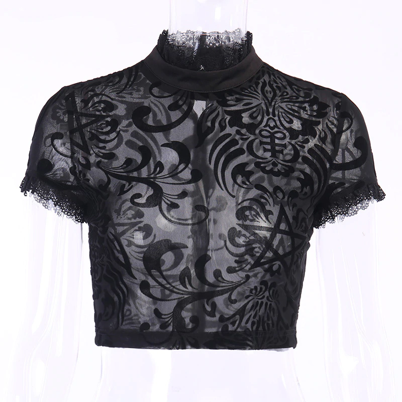 Gothic Transparent Lace Mesh Summer Blouse - WOMENEXY