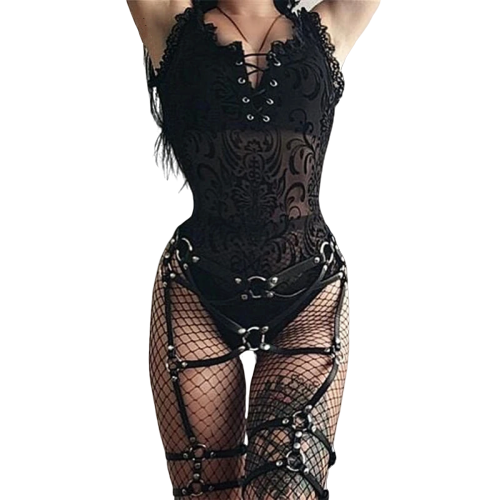 Gothic Patchwork Transparent Lace Bandage Bodysuits (Black) - WOMENEXY