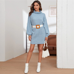 Load image into Gallery viewer, Casual Funnel Neck Drop Shoulder Sweater Dress