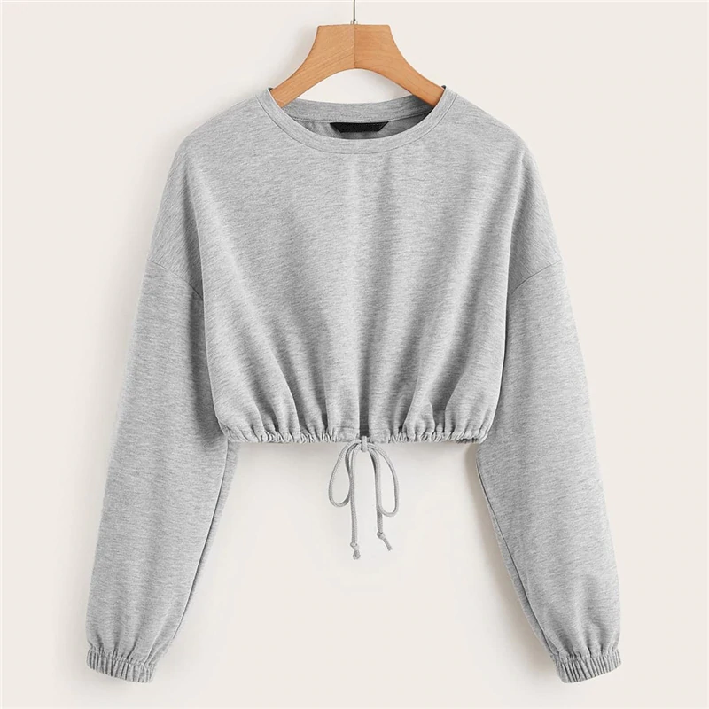 Casual Drop Shoulder Drawstring Hem Crop Pullover