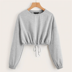 Load image into Gallery viewer, Casual Drop Shoulder Drawstring Hem Crop Pullover