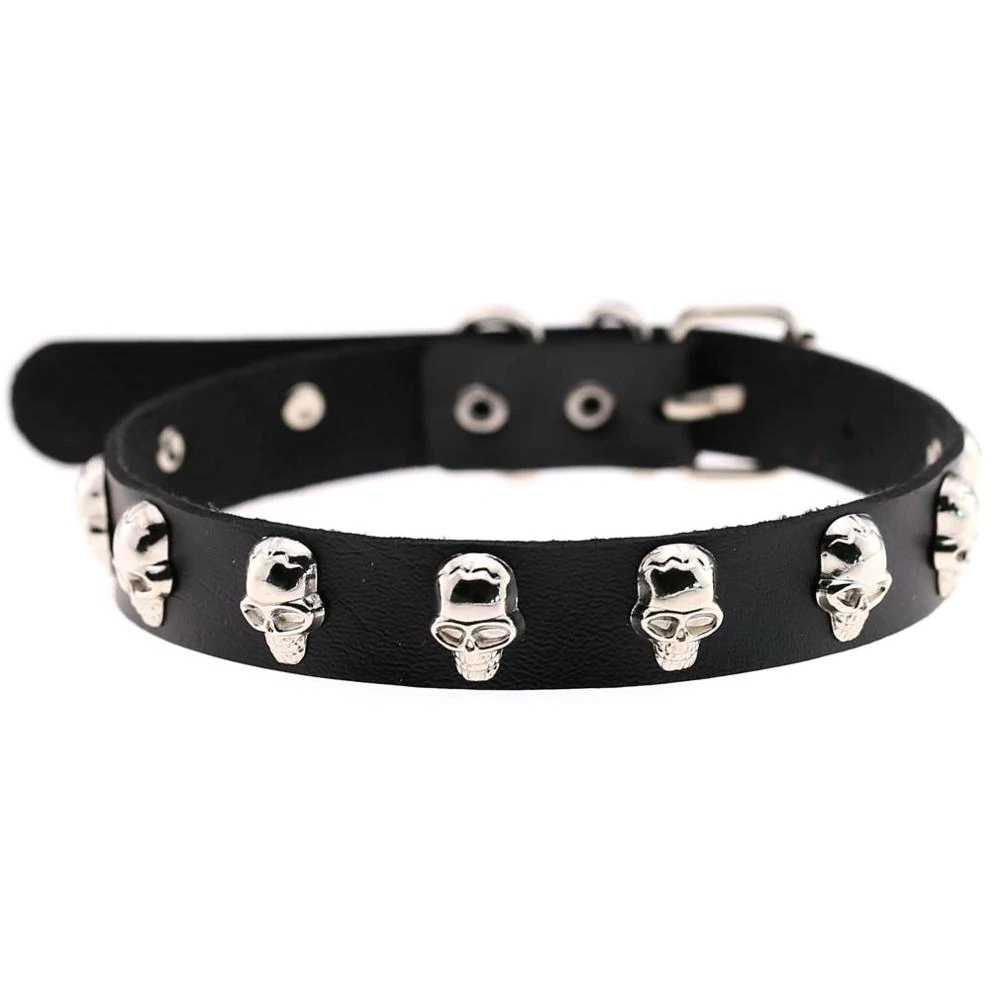 Gothic PU Mental Skull Choker Necklace (Silver) - WOMENEXY
