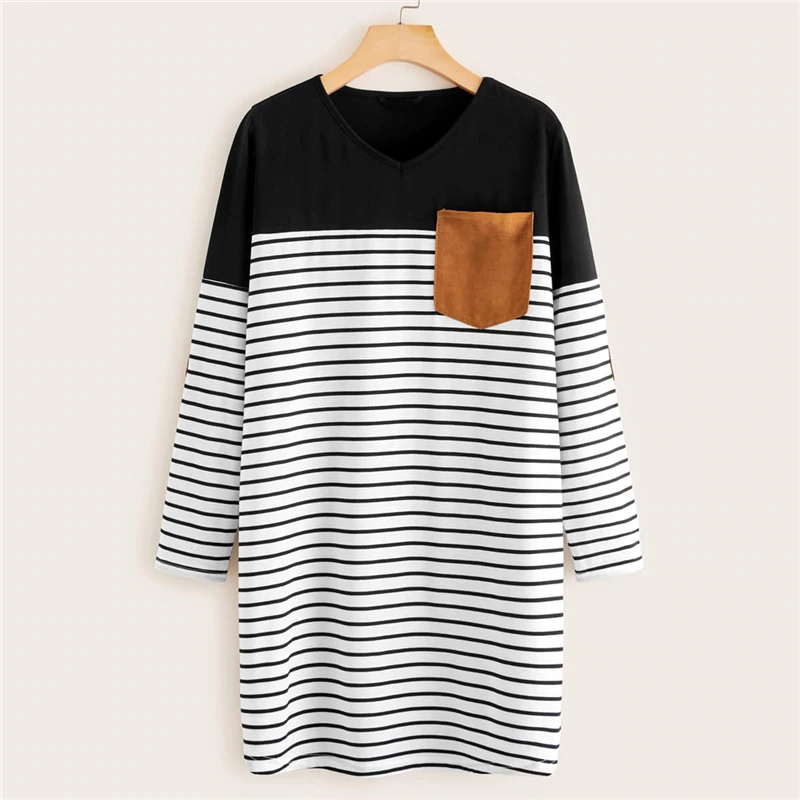 Casual Pocket Patched Striped Tee Dress