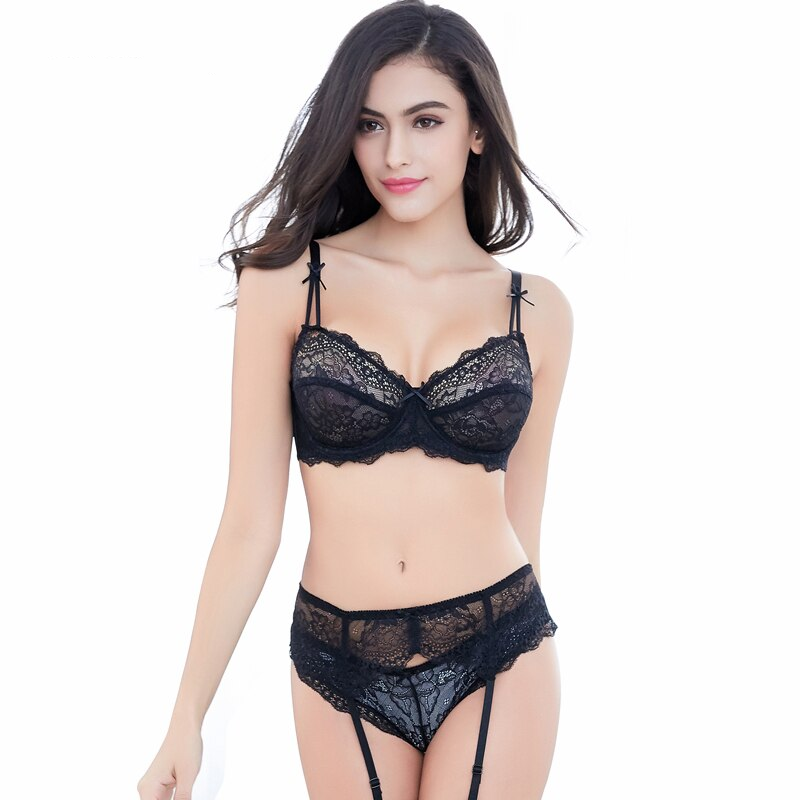 Sexy Comfortable Breathable Lace  Thin Cup Underwear Sets - WOMENEXY