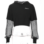 Load image into Gallery viewer, Gothic Fish Mesh Sleeve Crop Hoodies (Black) - WOMENEXY