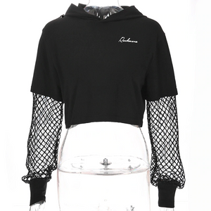 Gothic Fish Mesh Sleeve Crop Hoodies (Black) - WOMENEXY