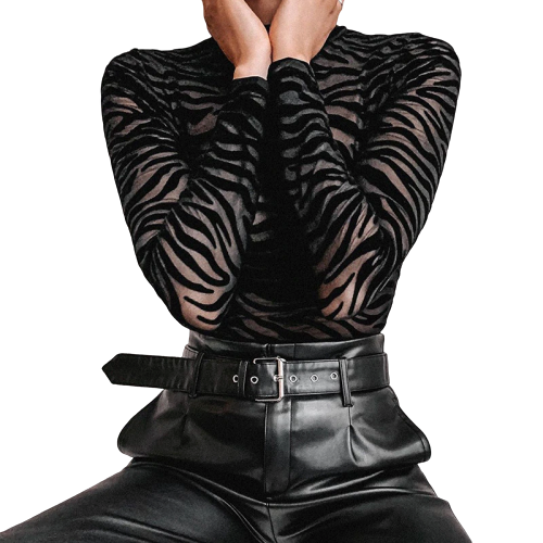 Gothic Striped Skinny Transparent Bodysuits (Black) - WOMENEXY