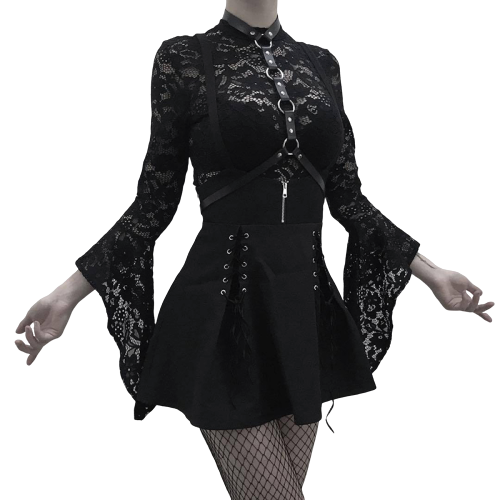 Gothic Lace Flare Long Sleeve Bodysuits (Black) - WOMENEXY