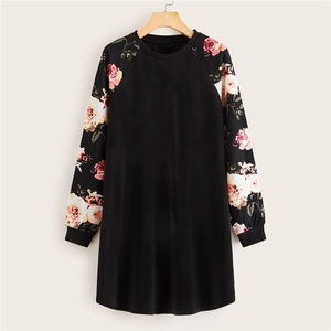 Casual Floral Raglan Sleeve T-Shirt Dress - Black - WOMENEXY