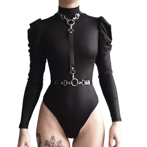 Gothic Zipper Long Sleeve Bodysuits (Black) - WOMENEXY