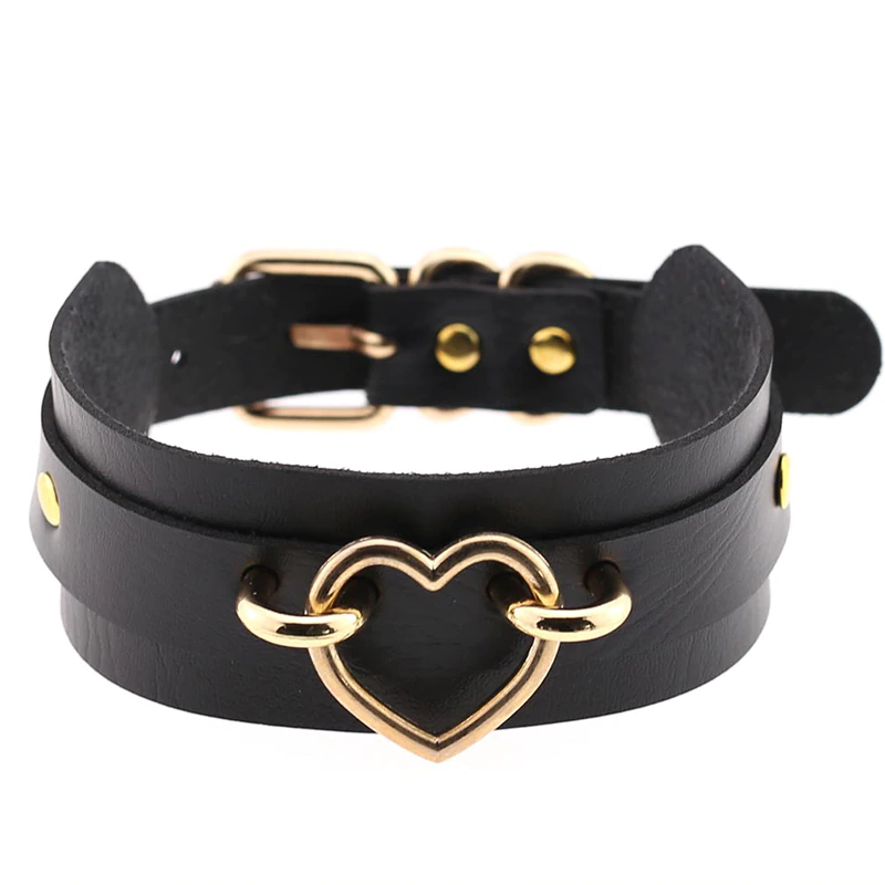 Gothic Leather Metal Gold Heart Choker Necklace - WOMENEXY