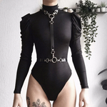 Load image into Gallery viewer, Gothic Zipper Long Sleeve Bodysuits (Black) - WOMENEXY