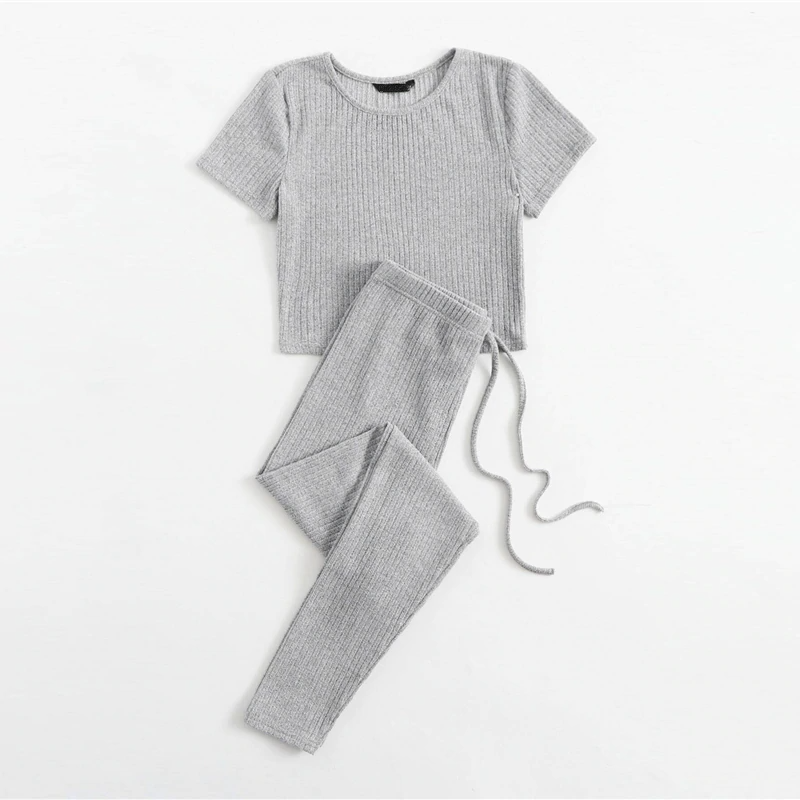Casual Rib-Knit Tee and Tie Waist Leggings Set - WOMENEXY
