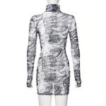Load image into Gallery viewer, Gothic Dragon Print Punk Harajuku Long Sleeve Grunge Dress (White) - WOMENEXY