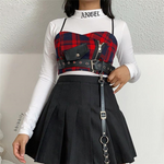 Load image into Gallery viewer, Gothic Plaid Spaghetti Strap Buckle Crop Top - WOMENEXY