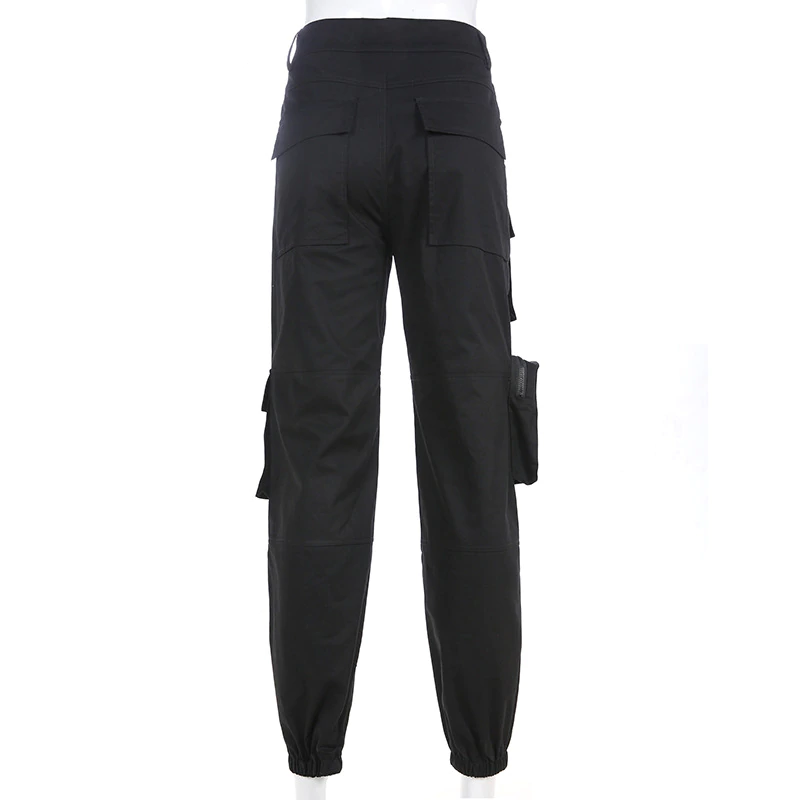 Gothic High Waist Pleated Pocket Trousers (Black) - WOMENEXY