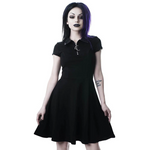 Load image into Gallery viewer, Grunge Aesthetic Vintage Pleated Evening Party Gothic Elegant Dress (Black) - WOMENEXY