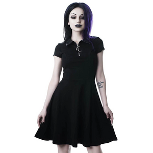 Grunge Aesthetic Vintage Pleated Evening Party Gothic Elegant Dress (Black) - WOMENEXY