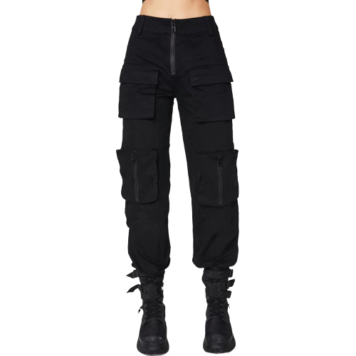 Gothic Pleated Zipper Pocket Pants (Black) - WOMENEXY