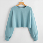 Load image into Gallery viewer, Casual Drop Shoulder Frayed Edge Crop Sweatshirt