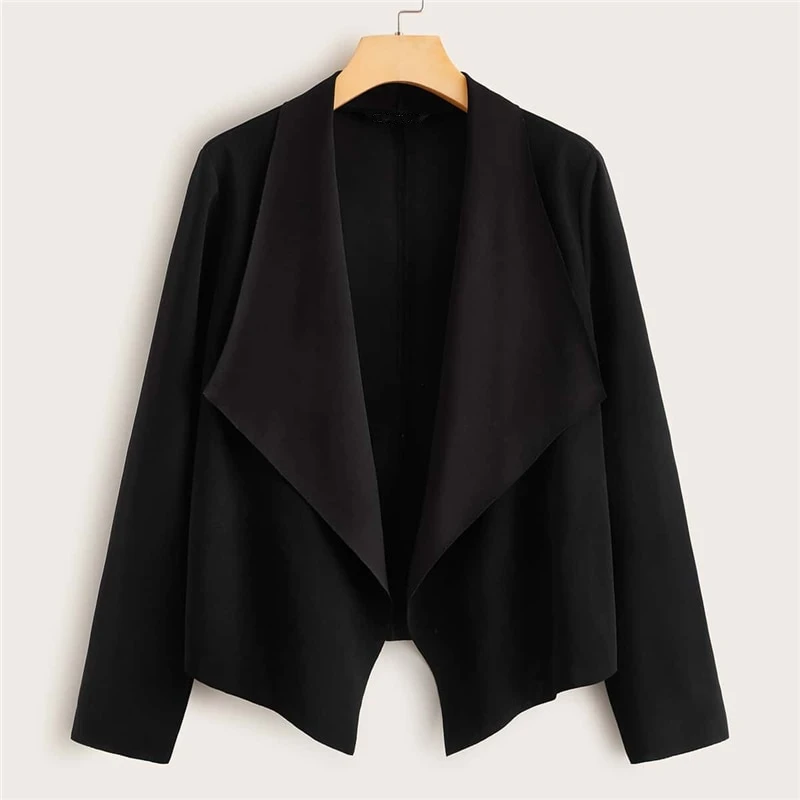 Casual Solid Waterfall Collar Open Front Jacket - Black - WOMENEXY