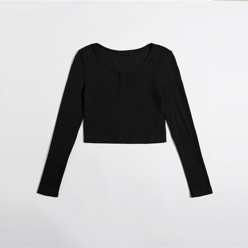 Casual Button Half Placket Crop Top