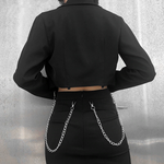 Load image into Gallery viewer, Gothic Chain Button Long Sleeve Jacket (Black) - WOMENEXY
