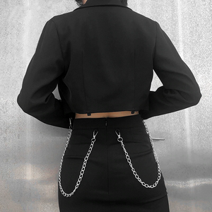 Gothic Chain Button Long Sleeve Jacket (Black) - WOMENEXY