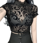 Load image into Gallery viewer, Gothic Transparent Lace Mesh Summer Blouse - WOMENEXY