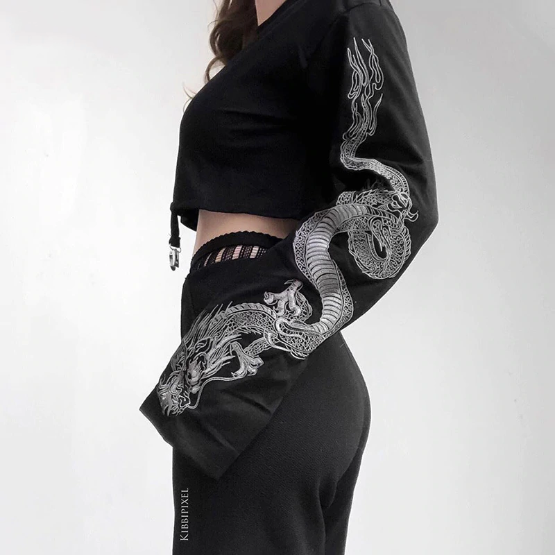 Gothic Dragon Print Flare Sleeve Sweatshirt (Black) - WOMENEXY