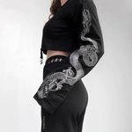 Load image into Gallery viewer, Gothic Dragon Print Flare Sleeve Sweatshirt (Black) - WOMENEXY
