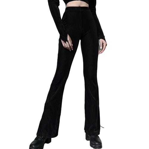 Gothic Flare Spring Pants (Black) - WOMENEXY