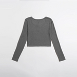 Load image into Gallery viewer, Casual Button Half Placket Crop Top