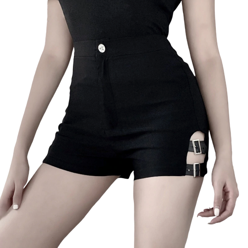 Gothic Spliced Spring Shorts (Black) - WOMENEXY
