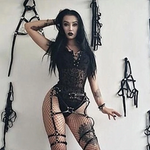 Load image into Gallery viewer, Gothic Patchwork Transparent Lace Bandage Bodysuits (Black) - WOMENEXY