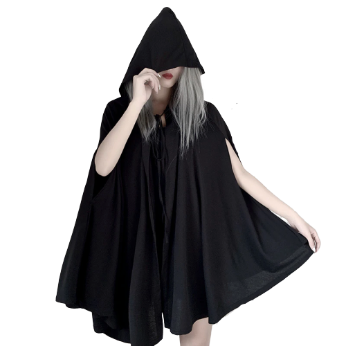 Gothic Hooded Strap Pleated Winter Cape (Black) - WOMENEXY