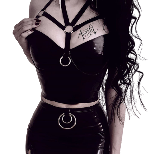 Gothic Strap Metal Ring Crop Tops (Black) - WOMENEXY