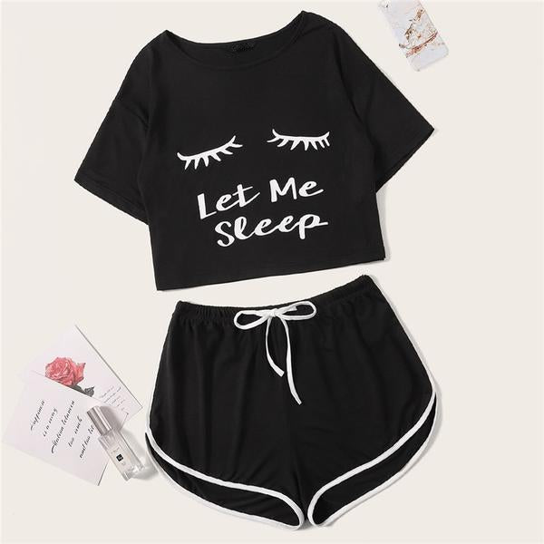 Casual Graphic Tee Frilled Striped Shorts Pajama Sets - Black - WOMENEXY